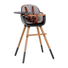 Ovo Max City High Chair, Black and Honey Wood, Gray Fabric and U Leather Harness