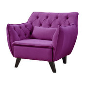 Midcentury Modern Tufted Linen Fabric Accent Chair, Purple