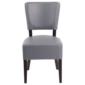 Sapa Kitchen Dining Chair, Wenge With Seren Pewter Faux Leather Seat and Back