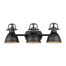 Duncan 3-Light Bath Vanity, Rubbed Bronze With Rubbed Bronze Shades