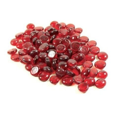 """1 Pound Bag 3/4"""" Red Glass Flat Beads"""