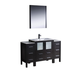 Torino 54-inch Espresso Modern Bathroom Vanity 2 Side Cabinets Integrated Sink