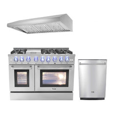"Thor Kitchen 3-Piece 48"" Gas Range, Range Hood, and Dishwasher, Natural Gas"