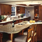 Cherry Cabinets With Gray Granite Countertops Kitchen