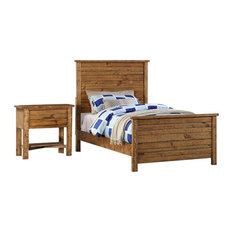 Madison 2-Piece Bed and Nightstand Set, Natural, Full by Pilaster Designs