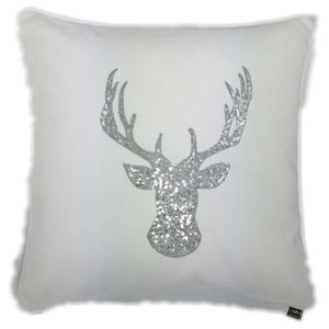 Glam Deer Sequin Cushion Cover, White and Silver