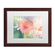 "Sheila Golden 'Coral Blossom' Framed Art, Wood Frame, 16""x20"", White Matte"