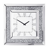 Square Mirrored Classic Face Clock, Chrome