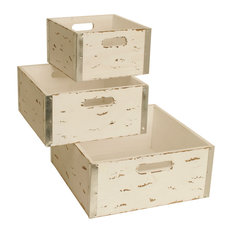 Different Sized Blue Wooden Crates, Set of 3, White