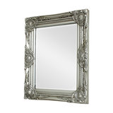 Ornate Silver Wall Mirror with Bevelled Glass 52cm x 42cm