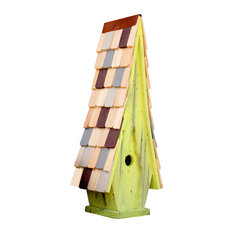 High Cotton Bird House, Limey Yellow With Multicolored Roof