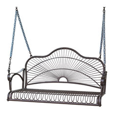 International Caravan - International Caravan Sun Ray Iron Swing, Bronze - Porch Swings