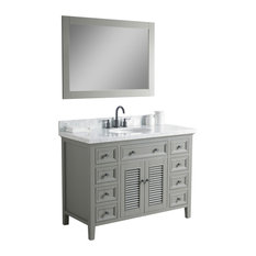 Zoe Solid Wood Vanity With Mirror and Faucet, Gray, 48""