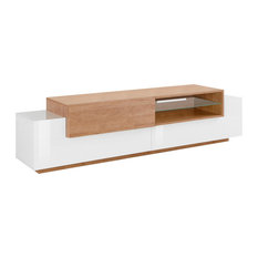 Asia 2-Door TV Unit, White and Natural Oak