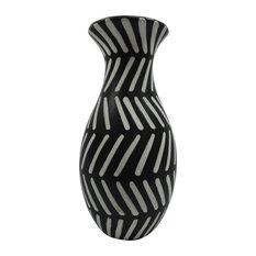 "Sagebrook Home Ceramic 11.75"" Tribal Vase, Black/White"