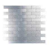 """12""""X12"""" Peel and Stick Decorative Wall Tile, Silver Brush Metal Brick, Set of 10"""