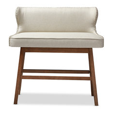 Baxton Studio   Gradisca Fabric Button Tufted Upholstered Bar Bench  Banquette, Light Beige