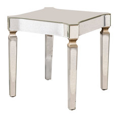 Southern Enterprises - Sanders Antique Mirrored End Table, Glam Style - Side Tables and End Tables