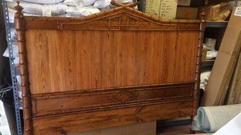 RestoMod of French faux-bamboo double bed made of carved heart pine
