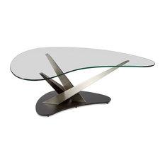 Elite Modern Elite Modern Crystal Boomerang Coffee Table Lava Base Coffee Tables