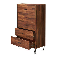 Enchanting  Wooden Chest With 5 Drawers, Walnut Brown
