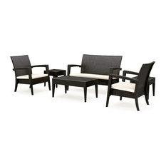Compamia - Miami Resin Wickerlook Conversation Set 6-Piece, Brown - Outdoor Lounge Sets
