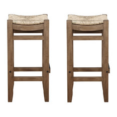Newport Set Of 2 30-inchH Wood Bar Stools With Rush Seats