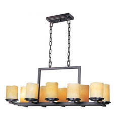 Ten Light Rustic Ebony Stone Candle Glass Candle Chandelier