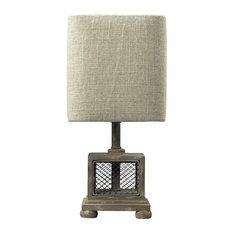"13"" Delambre Mini Table Lamp, Montauk Gray"