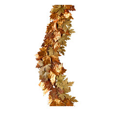 """Holiday Garlands for Fall & Christmas Decor, 72"""" Gold & Copper Glitter"""
