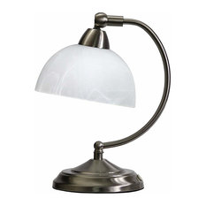 Mini Modern Bankers Desk Lamp With Touch Dimmer Control Base Brushed Nickel