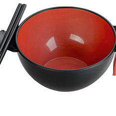 Ozeri - Ozeri Earth Ramen Bowl 6-Piece Set, 100% Made from a Plant, Red - Disposable Plates and Bowls