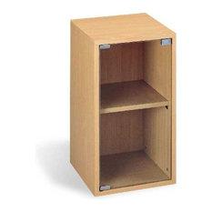 2-Tier Vertical Cabinet With Glass Door