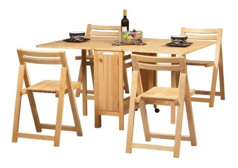 Linon Space Saver 5 pc. Folding Table and Chair Set - Contemporary ...
