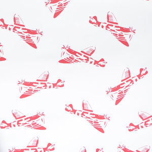 "PaperBoy Interiors ""Spitfires"" Wallpaper, White and Red"