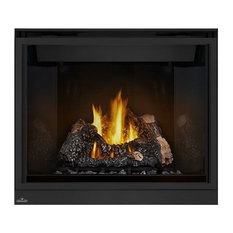 """40"""" Top Vent Fireplace With Curved Accents Safety Barrier, Natural Gas"""