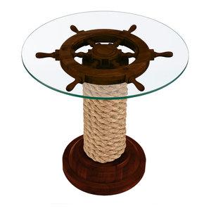 Nautical Steering Wheel Table, Brown