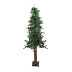 6' Traditional Mixed Green Woodland Alpine Artificial Christmas Tree,  Unlit