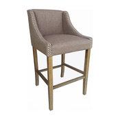 Set of 4 Parkland Contemporary Wood/Linen Barstool - Hazelnut Linen