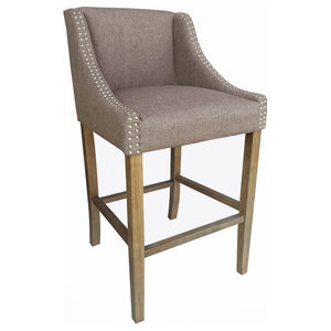 36554c4cb5c6 Corneille French Country Limed Oak Linen Counter Stool - Traditional ...