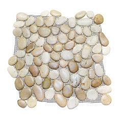 """12""""x12"""" Glazed Tan And White Pebble Stone Tile Sheet"""
