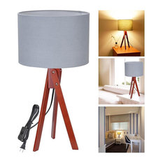 Trendy midcentury modern table lamps for 2018 houzz yeshom tripod table lighting cotton lampshade with oak stand wood walnutgray aloadofball Image collections