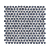 """SomerTile 12""""x12.63"""" Penny Porcelain Mosaic Tile, Case of 10, Imperial Gray"""