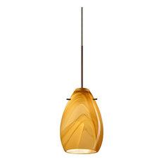 Pera 6 1-Light Cord Pendant With Flat Canop Bronze Honey Glass, LED