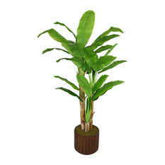 """77"""" Tall Banana Artificial Tree With Real Touch Leaves, Planter"""