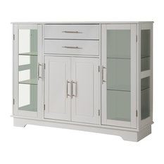 Pilaster Designs   White Wood Kitchen Buffet Display Cabinet With Storage  Drawers U0026 Glass Doors   Part 82