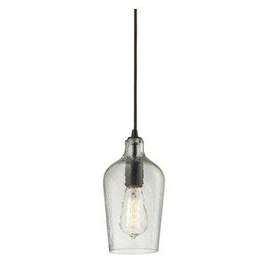 Hammered Glass 1-Light Mini Pendant, Clear