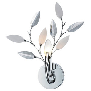 Modern Birch Chrome Wall Light Fixture with Clear and White Leaves