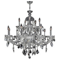 "Provence Collection 15 Light Chrome Finish and Clear Crystal Chandelier 35"" D x"