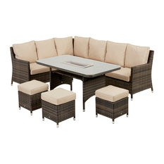 Venice Outdoor Corner Sofa and Dining Set With Ice Bucket, Brown